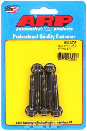 ARP M6 x 1.00 x 40 12pt black oxide bolts 6701005