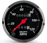 "Autometer Gauge, Speedometer, 3 1/8"", 120mph, Mechanical, Black Bzl, Designer Black 1496"