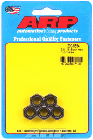 ARP 3/8-16 black coarse hex nut kit 2008654