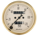"Autometer Gauge, Speedometer, 3 1/8"", 120mph, Mechanical, Black Bzl, Golden Oldies 1593"