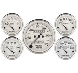 "Autometer Gauge Kit, 5 pc., 3 1/8"" & 2 1/16"", Mech. Speedometer, Old Tyme White 1601"