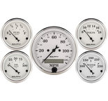 "Autometer Gauge Kit, 5 pc., 3 1/8"" & 2 1/16"", Elec. Speedometer, Old Tyme White 1602"