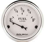 "Autometer Gauge, Fuel Level, 2 1/16"", 0?E to 90?F, Elec, Old Tyme White 1604"