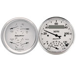 "Autometer Gauge Kit, 2 pc., Quad & Tach/Speedo, 3 3/8"", Old Tyme White 1620"