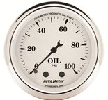 "Autometer Gauge, Oil Press, 2 1/16"", 100psi, Mech, Old Tyme White 1621"
