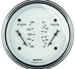 """Autometer Gauge, Dual, WTMP & VOLT, 3 3/8"""", 250şF & 18V, Elec, Old Tyme White 1630"""