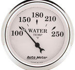 "Autometer Gauge, Water Temp, 2 1/16"", 250şF, Elec, Old Tyme White 1638"