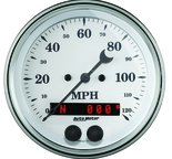 "Autometer Gauge, Speedometer, 3 3/8"", 120mph, GPS, Old Tyme White 1649"