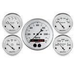 "Autometer Gauge Kit, 5 pc., 3 3/8"" & 2 1/16"", GPS Speedometer, Old Tyme White 1650"