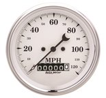 "Autometer Gauge, Speedo., 3 3/8"", 120mph, Elec. Prog. w/ Wheel Odo, Old Tyme White 1679"