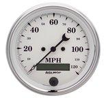 "Autometer Gauge, Speedo., 3 3/8"", 120mph, Elec. Prog. w/ LCD Odo, Old Tyme White 1680"