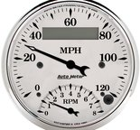 "Autometer Gauge, Tach/Speedo, 3 3/8"", 120mph & 8k RPM, Elec. Program., Old Tyme Wht 1681"