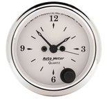 "Autometer Gauge, Clock, 2 1/16"", 12Hr, Analog, Old Tyme White 1686"