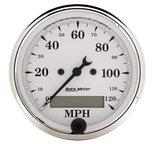 "Autometer Gauge, Speedo., 3 1/8"", 120mph, Elec. Prog. w/ LCD Odo, Old Tyme White 1688"