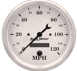 "Autometer Gauge, Speedo., 5"", 120mph, Elec. Prog. w/ LCD Odo, Old Tyme White 1689"