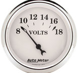 """Autometer Gauge, Voltmeter, 2 1/16"""", 18V, Elec, Old Tyme White 1692"""