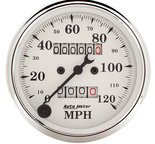 "Autometer Gauge, Speedometer, 3 1/8"", 120mph, Mechanical, Old Tyme White 1693"