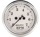 "Autometer Gauge, Tachometer, 2 1/16"", 7k RPM, In-Dash, Old Tyme White 1694"