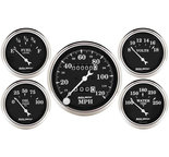"Autometer Gauge Kit, 5 pc., 3 1/8"" & 2 1/16"", Mech. Speedometer, Old Tyme Black 1708"