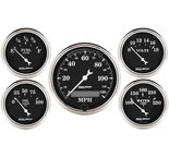 "Autometer Gauge Kit, 5 pc., 3 1/8"" & 2 1/16"", Elec. Speedometer, Old Tyme Black 1709"