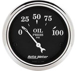 "Autometer Gauge, Oil Press, 2 1/16"", 100psi, Elec, Old Tyme Black 1727"