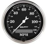 """Autometer Gauge, Speedo., 3 1/8"""", 120mph, Elec. Prog. w/ LCD Odo, Old Tyme Blk 1787"""