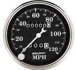 "Autometer Gauge, Speedo., 3 1/8"", 120mph, Mechanical, Black Bzl, Old Tyme Blk 1796"