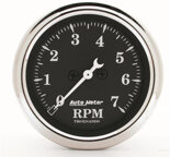 "Autometer Gauge, Tachometer, 2 1/16"", 7k RPM, In-Dash, Black Bzl, Old Tyme Black 1797"