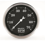 "Autometer Gauge, Tachometer, 3 1/8"", 7k RPM, In-Dash, Black Bzl, Old Tyme Black 1798"