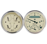 "Autometer Gauge Kit, 2 pc., Quad & Tach/Speedo, 3 3/8"", Antique Beige 1820"