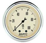 "Autometer Gauge, Oil Press, 2 1/16"", 100psi, Mech, Antique Beige 1821"