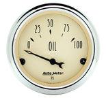 "Autometer Gauge, Oil Press, 2 1/16"", 100psi, Elec, Antique Beige 1827"