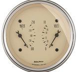 "Autometer Gauge, Dual, WTMP & VOLT, 3 3/8"", 250şF & 18V, Elec, Antq Beige 1830"