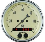 "Autometer Gauge, Speedometer, 3 3/8"", 120mph, GPS, Antique Beige 1849"