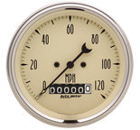 "Autometer Gauge, Speedo., 3 3/8"", 120mph, Elec. Prog. w/ Wheel Odo, Antq Beige 1879"