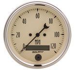 "Autometer Gauge, Speedo., 3 3/8"", 120mph, Elec. Prog. w/ LCD Odo, Antq Beige 1880"