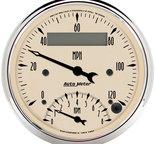 "Autometer Gauge, Tach/Speedo, 3 3/8"", 120mph & 8k RPM, Elec. Program., Antq Beige 1881"