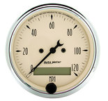 "Autometer Gauge, Speedo., 3 1/8"", 120mph, Elec. Prog. w/ LCD Odo, Antq Beige 1887"