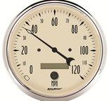 "Autometer Gauge, Speedometer, 5"", 120mph, Elec. Prog. w/ LCD Odo, Antique Beige 1889"