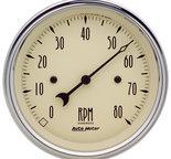 "Autometer Gauge, Tachometer, 3 3/8"", 8k RPM, In-Dash, Antique Beige 1890"