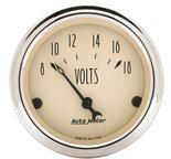 """Autometer Gauge, Voltmeter, 2 1/16"""", 18V, Elec, Antique Beige 1891"""