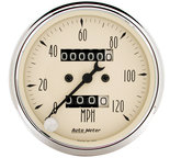 "Autometer Gauge, Speedometer, 3 1/8"", 120mph, Mechanical, Antique Beige 1896"