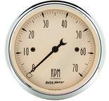 "Autometer Gauge, Tachometer, 3 1/8"", 7k RPM, In-Dash, Antique Beige 1898"