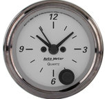"Autometer Gauge, Clock, 2 1/16"", 12Hr, Analog, American Platinum 1986"