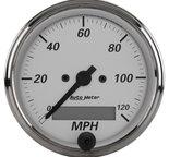 "Autometer Gauge, Speedometer, 3 1/8"", 120mph, Elec. Program., American Platinum 1988"