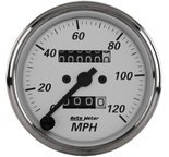 "Autometer Gauge, Speedometer, 3 1/8"", 120mph, Mechanical, American Platinum 1993"