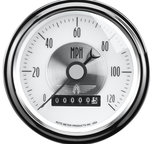 "Autometer Gauge, Speedo, 3 3/8"", 120mph, Elec. Program w/Wheel odo, Prestige Pearl 2085"