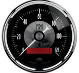 "Autometer Gauge, Speedo, 3 3/8"", 120mph, Elec. Program w/LCD odo, Prestige Blk. Diamond 2086"