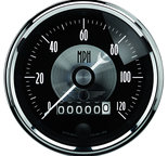 "Autometer Gauge, Speedo, 3 3/8"", 120mph, Elec. Program w/Wheel odo, Prestige Blk. Diamond 2088"