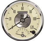 "Autometer Gauge, Tach/Speedo, 5"", 120mph & 8k RPM, Elec. Program., Prestige Antq. Ivory 2090"